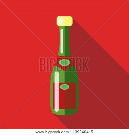 Champagne icon in flat style with long shadow. Drinks symbol