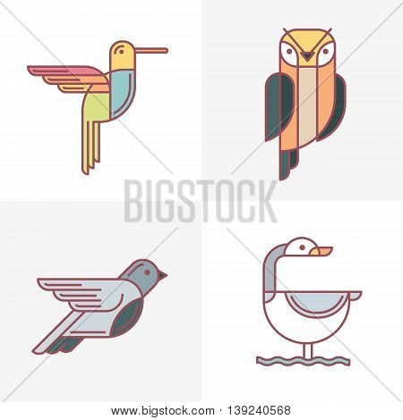 Set of vector birds logo icons. Colorful line birds illustration of hummingbird owl pigeon and swan. Isolated design elements on white background.