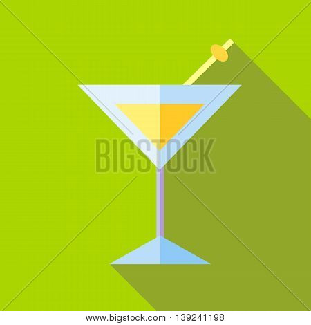 Cocktail icon in flat style with long shadow. Drinks symbol
