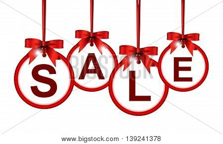 sale icon hinging with ribbon for you design