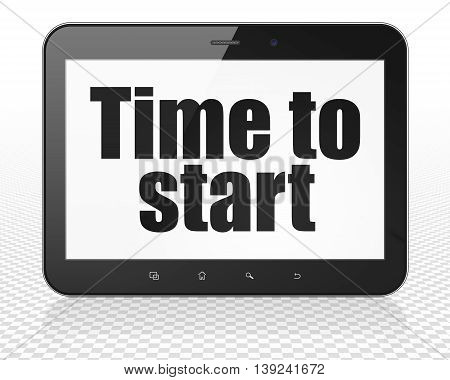 Time concept: Tablet Pc Computer with black text Time to Start on display, 3D rendering