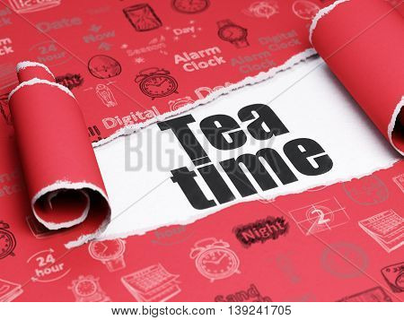 Time concept: black text Tea Time under the curled piece of Red torn paper with  Hand Drawing Time Icons, 3D rendering