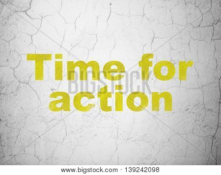 Timeline concept: Yellow Time For Action on textured concrete wall background