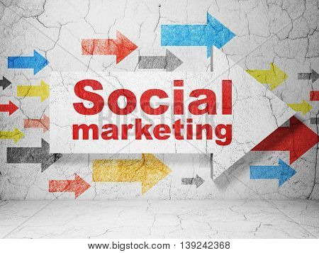 Marketing concept:  arrow with Social Marketing on grunge textured concrete wall background, 3D rendering