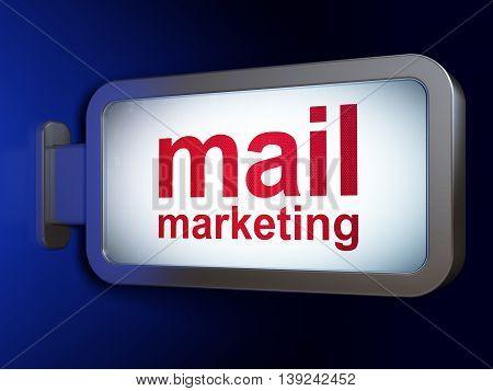 Marketing concept: Mail Marketing on advertising billboard background, 3D rendering