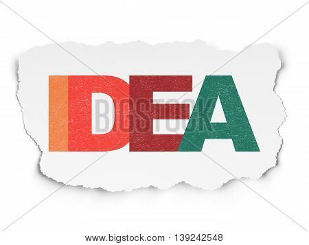 Marketing concept: Painted multicolor text Idea on Torn Paper background
