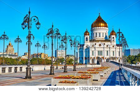Cathedral of Christ the Savior in Moscow behind the river