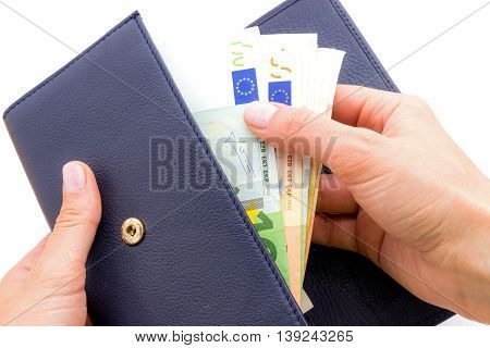 Blue purse with euros in the hands isolated on a white background