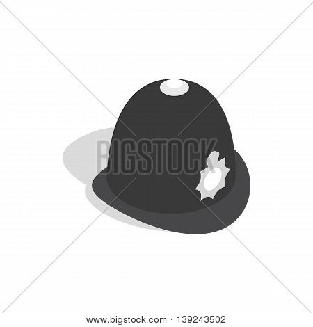 Hat english police icon in isometric 3d style isolated on white background. Headdress symbol