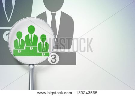 Marketing concept: magnifying optical glass with Business Team icon on digital background, empty copyspace for card, text, advertising, 3D rendering