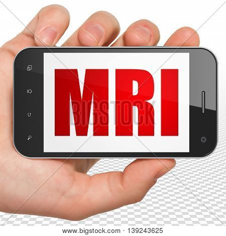 Medicine concept: Hand Holding Smartphone with red text MRI on display, 3D rendering