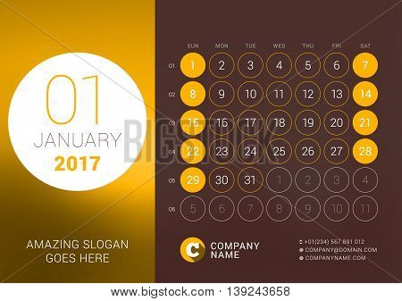 January 2017. Desk Calendar For 2017 Year. Vector Design Print Template With Place For Photo. Week S