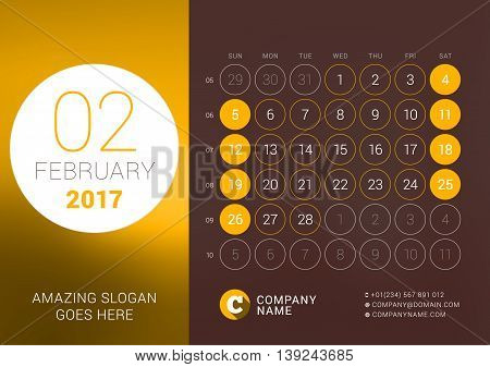 February 2017. Desk Calendar For 2017 Year. Vector Design Print Template With Place For Photo. Week