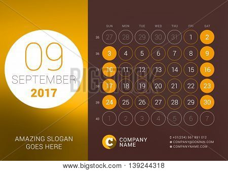 September 2017. Desk Calendar For 2017 Year. Vector Design Print Template With Place For Photo. Week
