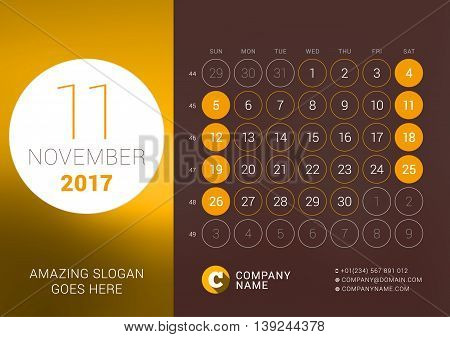 November 2017. Desk Calendar For 2017 Year. Vector Design Print Template With Place For Photo. Week