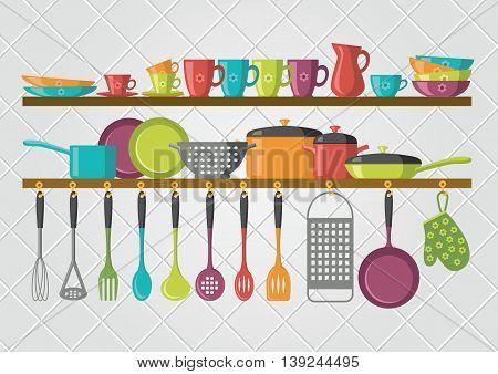 kitchen shelves and cooking utensils - vector illustration