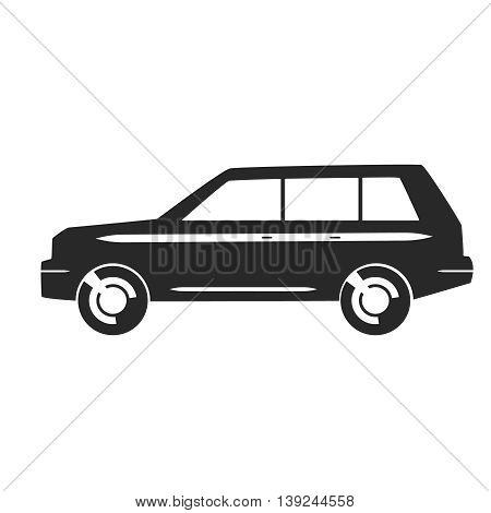 Flat clipart SUV car black vector icon.