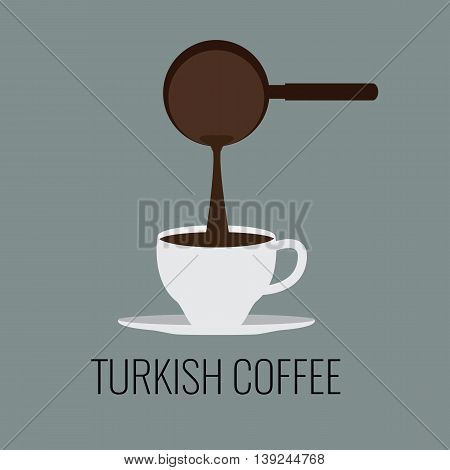 Turkish coffee cup with coffee jug. Flat vector design. Ideal for coffe logo design