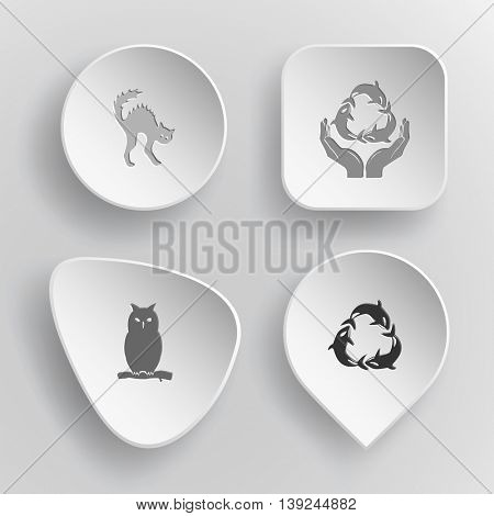 4 images: cat, protection sea life, owl, killer whale as recycling symbol. Animal set. White concave buttons on gray background. Vector icons.