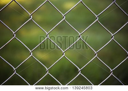 a nice chain link fence in front of green grass in a park or yard on a summer day with a vignette ar