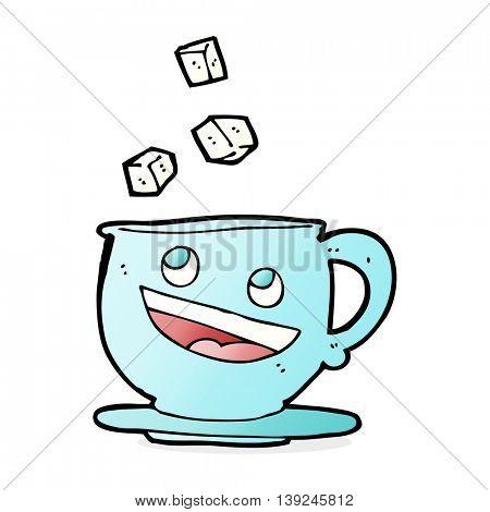cartoon sugar lumps falling into tea cup