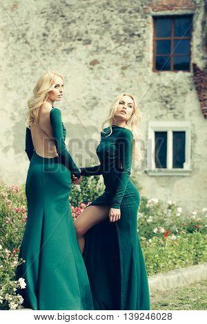 Pretty Women In Green Dresses