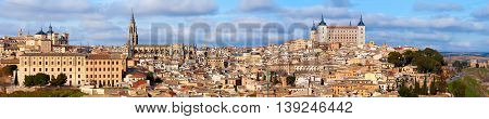 The panoramic view of old spanish city Toledo&