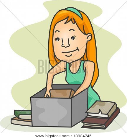 Illustration of a Girl Packing Old Books
