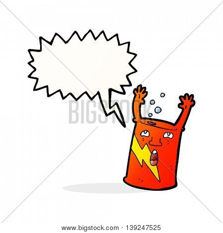 cartoon soda can character with speech bubble