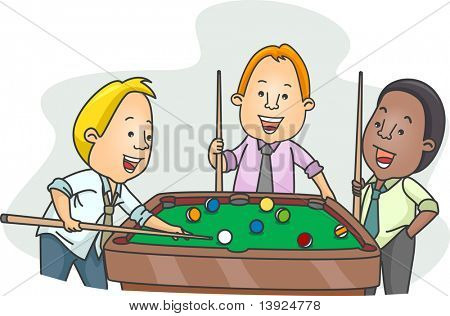 Illustration of Men Playing Billiards After Work