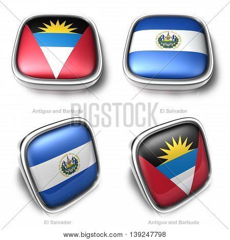 3D Antigua Barbuda And El Salvador Flag Button