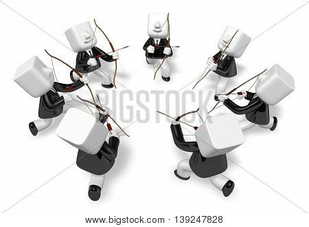 3D Archer Men Looking Upward With Their Bow