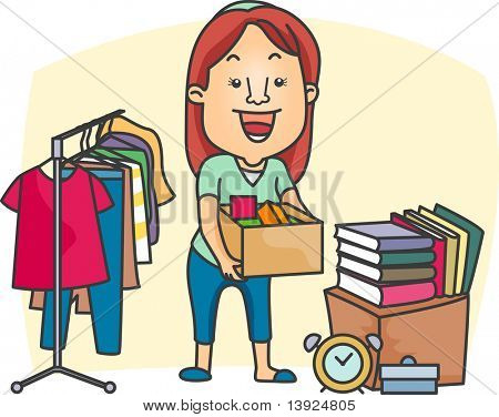 Illustration of a Girl Preparing a Garage Sale