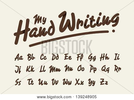 Vector of stylized handwriting font and alphabet