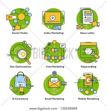Green digital marketing concept with descriptions of social mobile viral marketing seo optimization keywording vector illustration