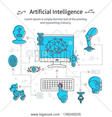 Artificial intelligence line poster with computer monitor and the development of robotic models vector illustration