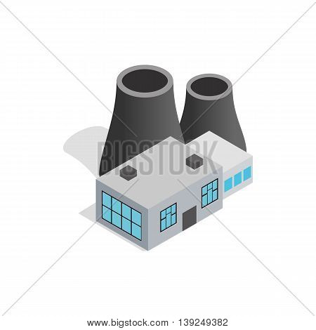 Thermal power station icon in isometric 3d style isolated on white background