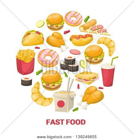 Fast food design in circle shape with noodle chicken burger drink croissant sushi taco pizza vector illustration