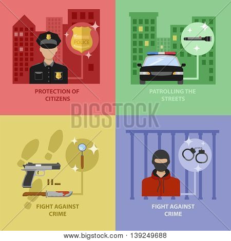 Police work concept with protection of citizens street patrol fight against crimes isolated vector illustration