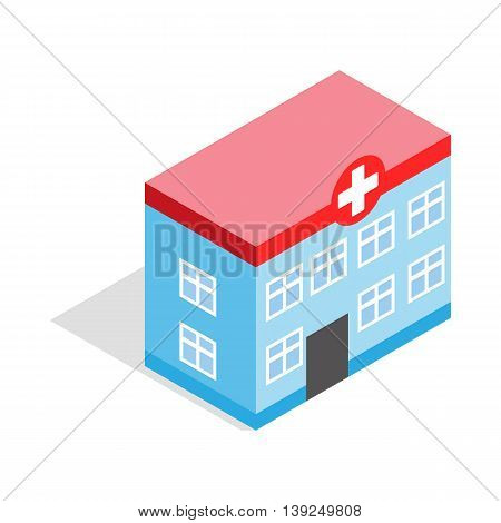 Hospital building icon in isometric 3d style isolated on white background