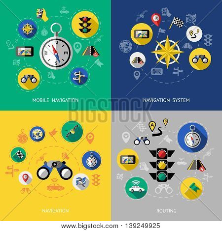 Four flat navigation icon set with descriptions of mobile navigation navigation system routing vector illustration