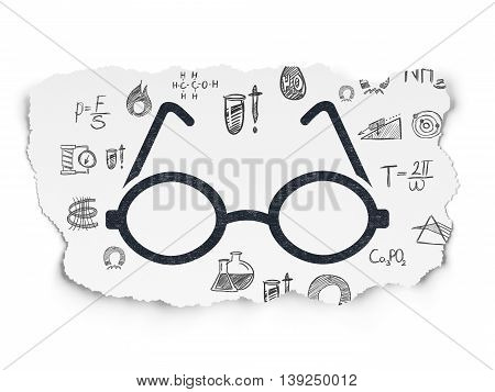 Science concept: Painted black Glasses icon on Torn Paper background with  Hand Drawn Science Icons
