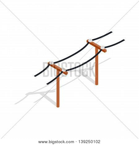 Power line icon in isometric 3d style isolated on white background