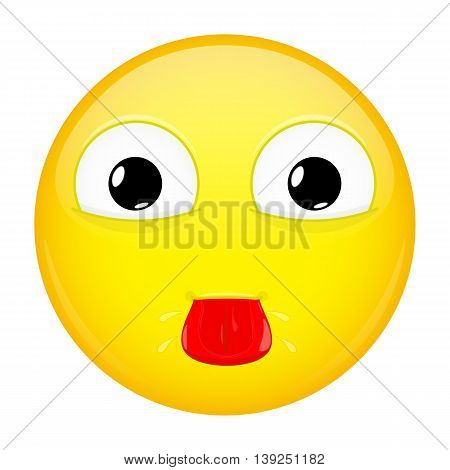Show tongue emoji. Tease emotion. Put out tongue emoticon. Vector illustration smile icon.