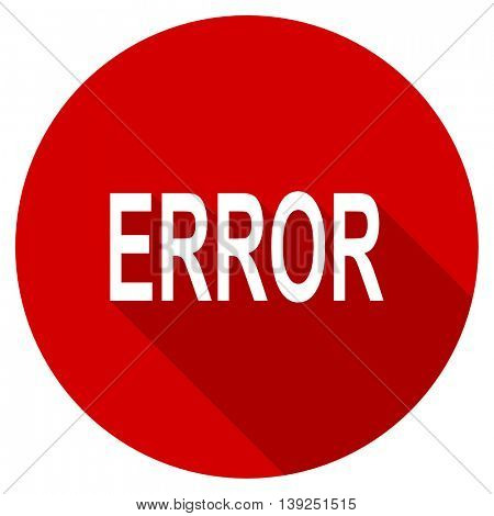 error red vector icon, circle flat design internet button, web and mobile app illustration