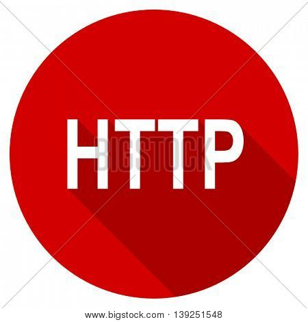 http red vector icon, circle flat design internet button, web and mobile app illustration