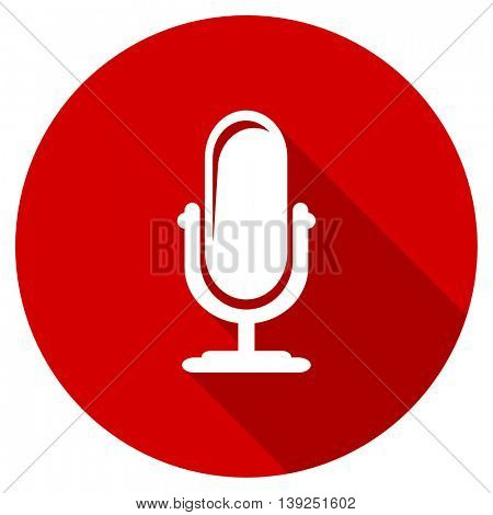 microphone red vector icon, circle flat design internet button, web and mobile app illustration