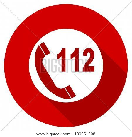 emergency call red vector icon, circle flat design internet button, web and mobile app illustration