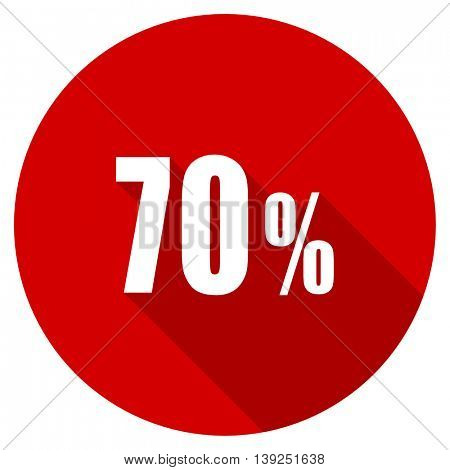 70 percent red vector icon, circle flat design internet button, web and mobile app illustration