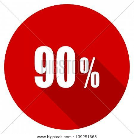 90 percent red vector icon, circle flat design internet button, web and mobile app illustration